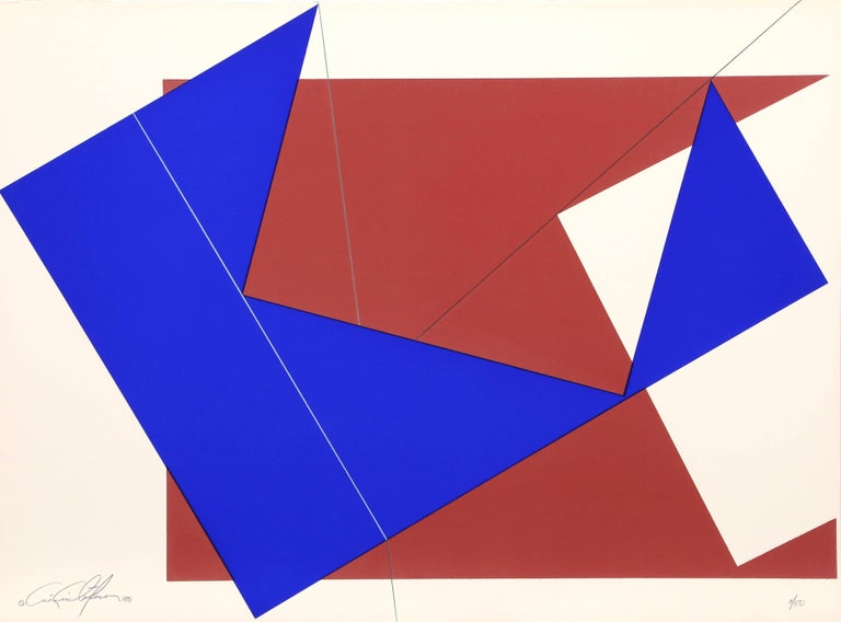 Chris Cristofaro Abstract Print - Blue and Red Rectangles