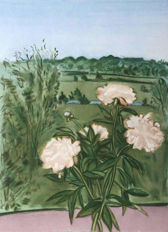 Jane Freilicher Still-Life Print - Peonies (Color)