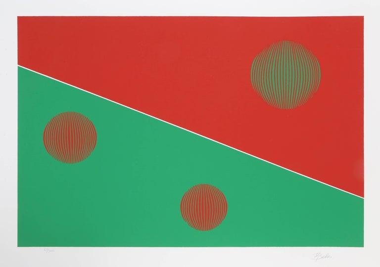 Gisela Beker Abstract Print - Bauhaus (Red and Green)