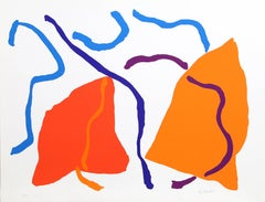 Colorful Abstract Expressionist Silkscreen by Ray Parker