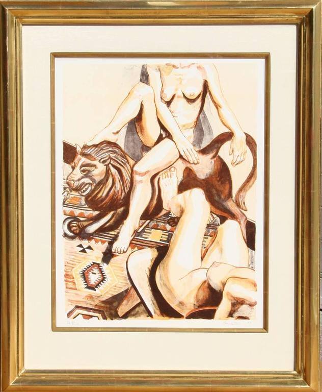 Philip Pearlstein - Two Nude Women with Lion 1