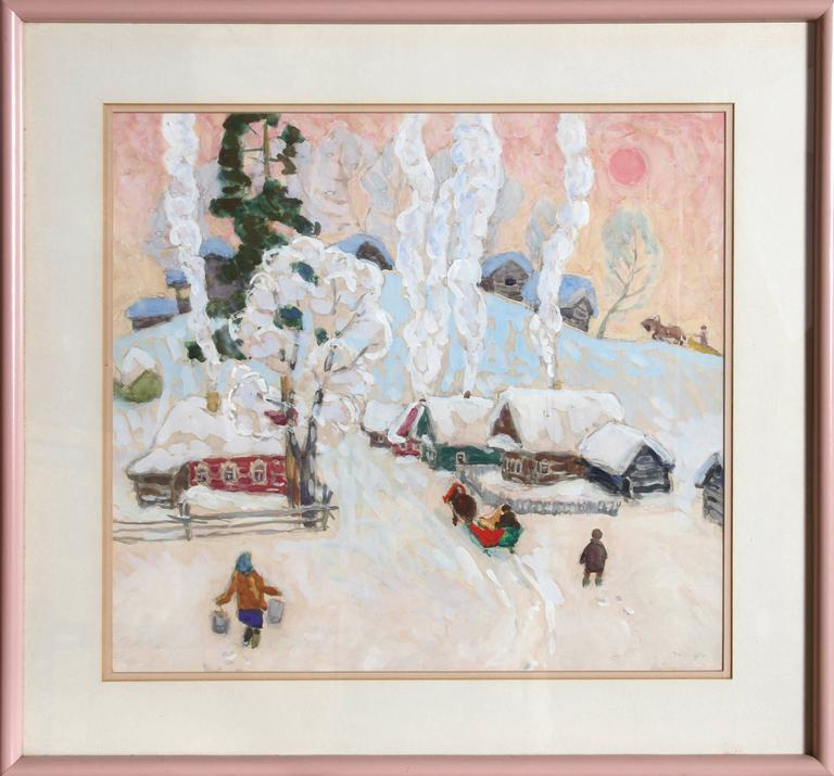 Moisey Kogan Landscape Art - Winter Village Scene