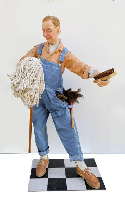 Kay Ritter - The Janitor, Free Standing Indoor Sculpture 1