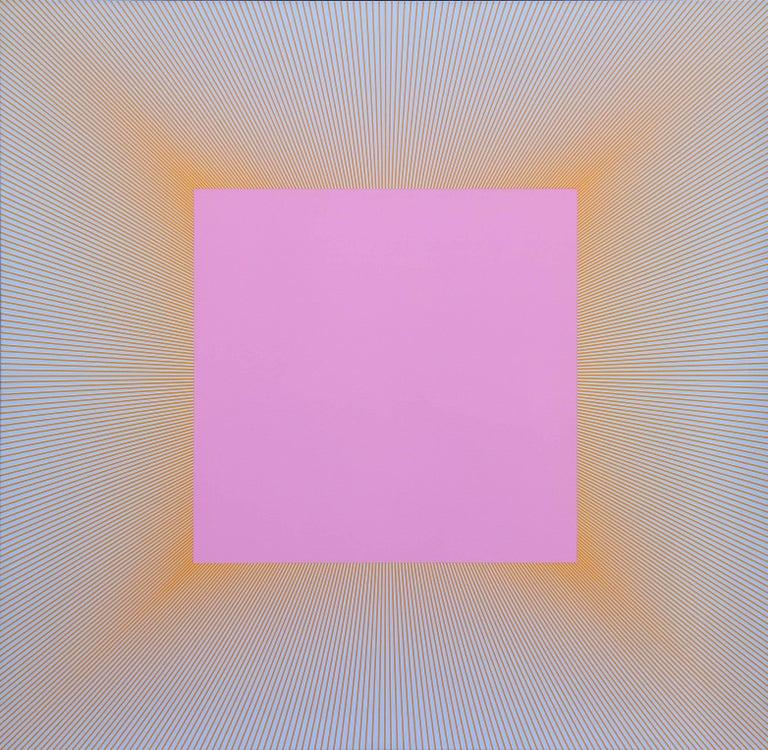 Richard Anuszkiewicz Abstract Painting - Light Magenta Square