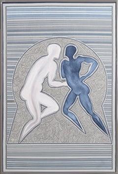 Dancing Couple (Blue), Acrylic Painting by Barooshian