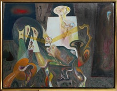 Creatures of Prometheus, Surrealist Oil Painting by Barooshian 1957