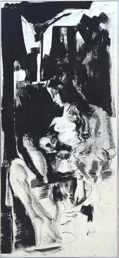 Woman Nursing, Large Unique Ink Drawing