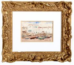 Boats on the Shore, Watercolor Painting circa 1925