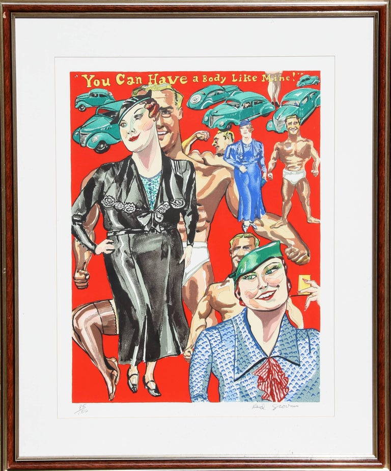 """Artist: Red Grooms, American (1937 - ) Title: You can have a body like mine! Year: 1978 Medium: Silkscreen, signed and numbered in pencil Edition: 85/150 Size: 31 in. x 25 in. (78.74 cm x 63.5 cm) (frame larger)  Referenced as fig. no. 70 in """"Red"""