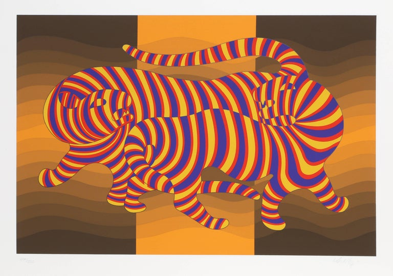 Victor Vasarely Animal Print - Two Tigers on Gold