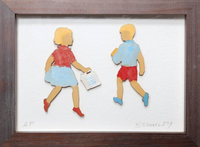 David Bromley Figurative Print - Girl and Boy Shopping