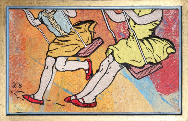David Bromley Figurative Painting - Swing Set