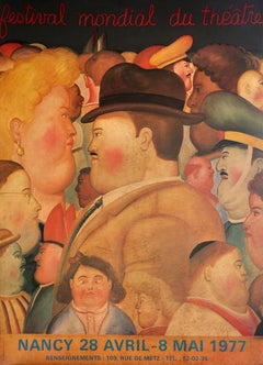 Festival Mondail du Theatre, Huge Poster on Panel by Botero 1977