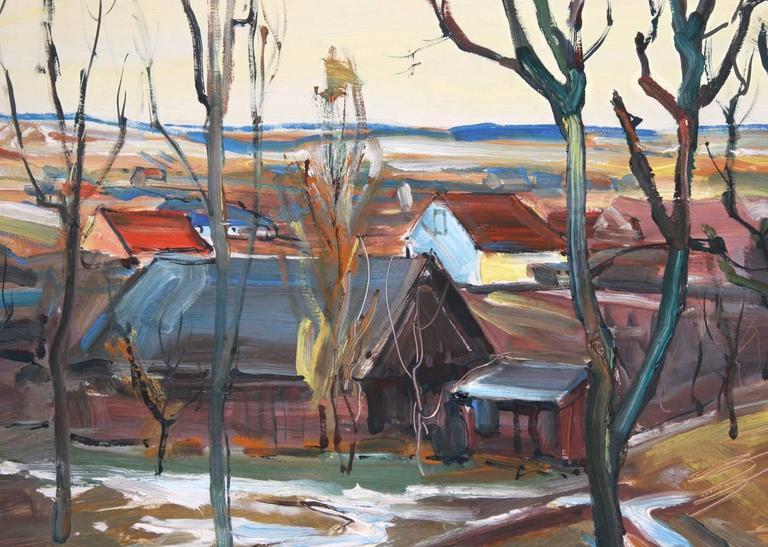 Village Scene - Painting by Emil Rizek