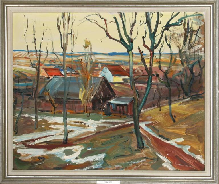 Emil Rizek Landscape Painting - Village Scene