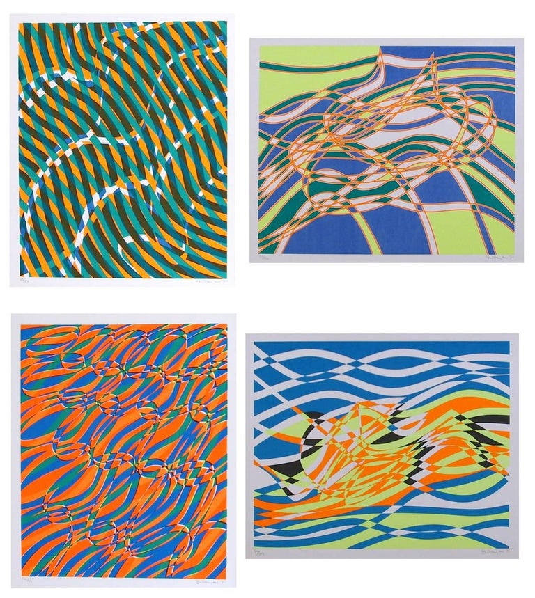 A suite of four silkscreens by the master of the famed Atelier 17.  Stanley William Hayter, CBE (December 27, 1901 – May 4, 1988) was a British painter and printmaker associated in the 1930s with Surrealism and from 1940 onward with Abstract