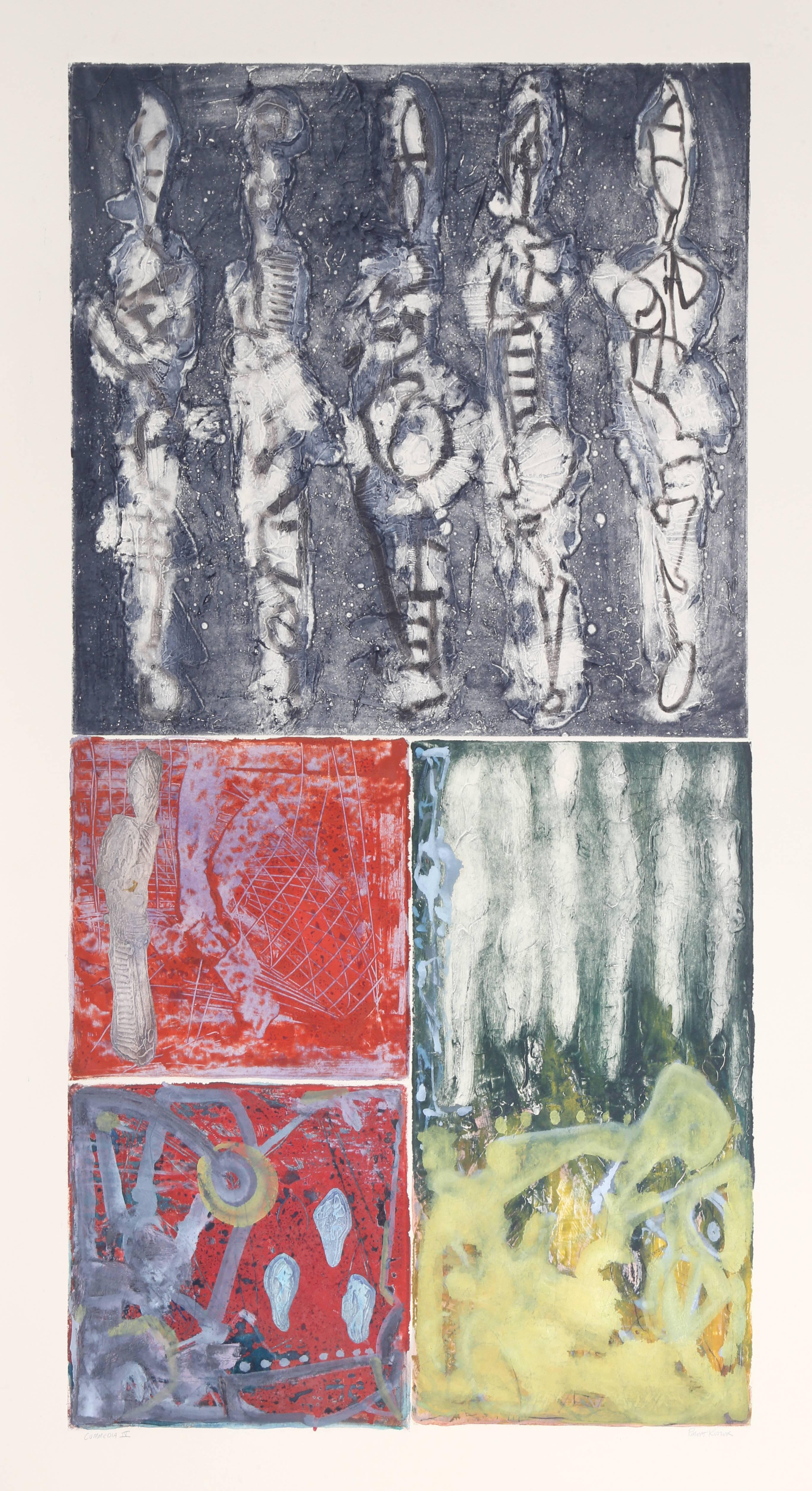 "Robert Kuszek, ""Commedia IV,"" Monoprint, circa 1990"