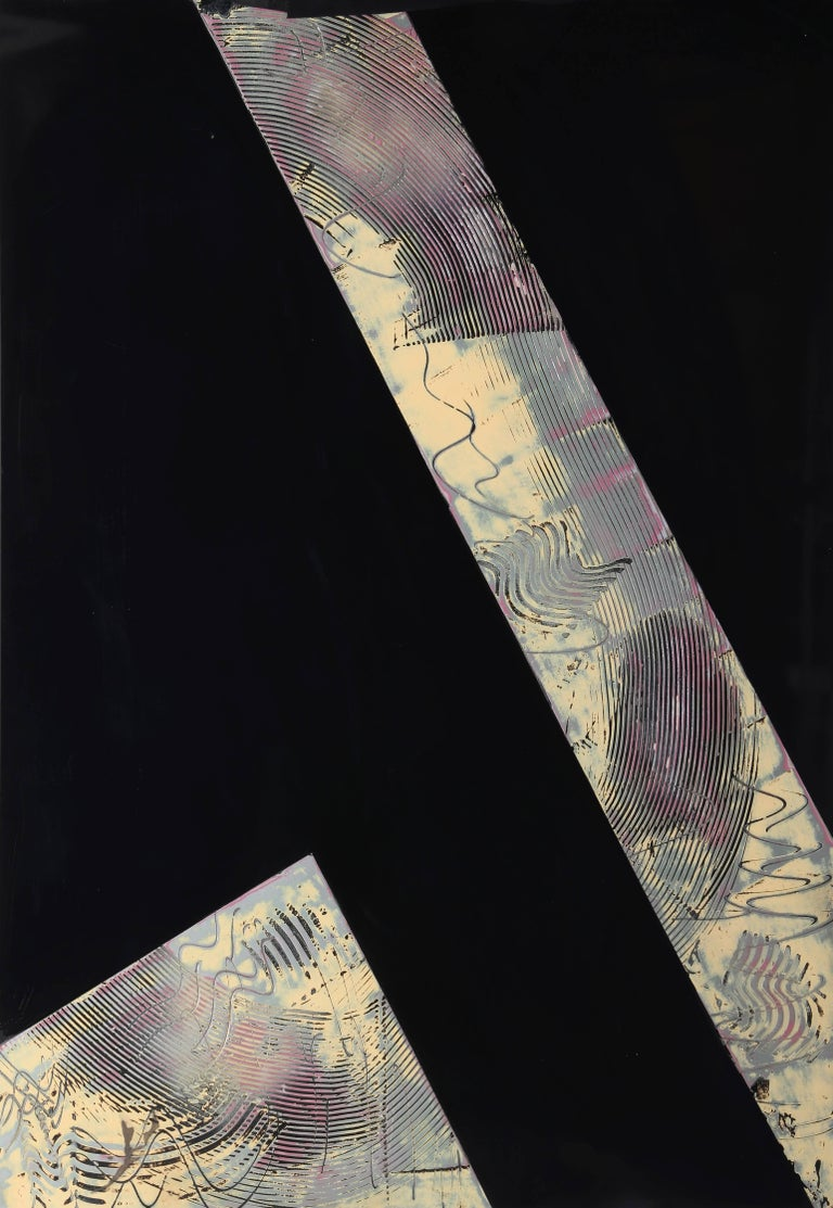 """Jim Jacobs, """"Olo Canyon,"""" Enamel with Etching in Pressed Wood, 1982 - Mixed Media Art by Jim Jacobs"""