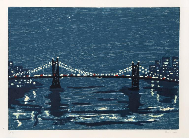 "Richard Bosman, ""Bridges 1,"" Woodcut on Wove Paper, 1997"