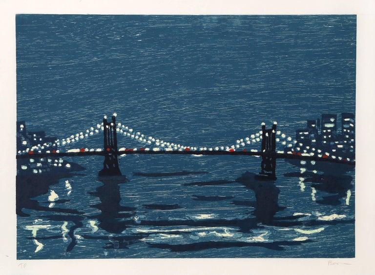 """Richard Bosman, """"Bridges 1,"""" Woodcut on Wove Paper, 1997 - Print by Richard Bosman"""