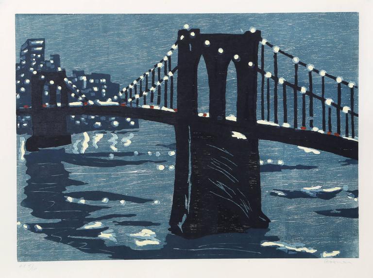 "Richard Bosman, ""Bridges IV (Brooklyn Bridge),"" Woodcut on Wove Paper, 1997"