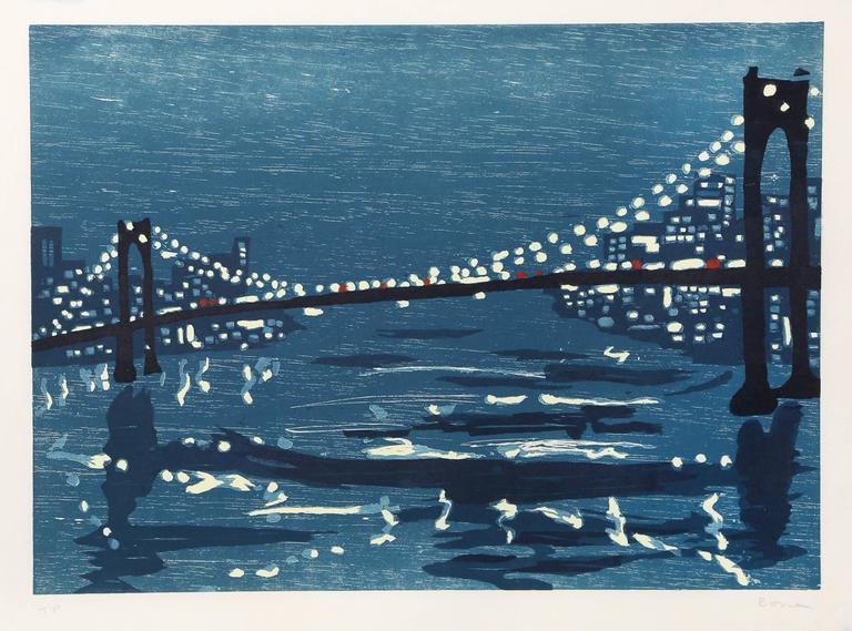 """Richard Bosman, """"Bridges III,"""" Woodcut on Wove Paper, 1997"""