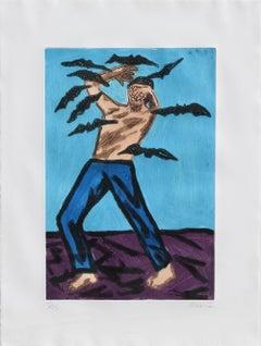 "Richard Bosman, ""Untitled - Bats,"" Aquatint Etching, 1983"