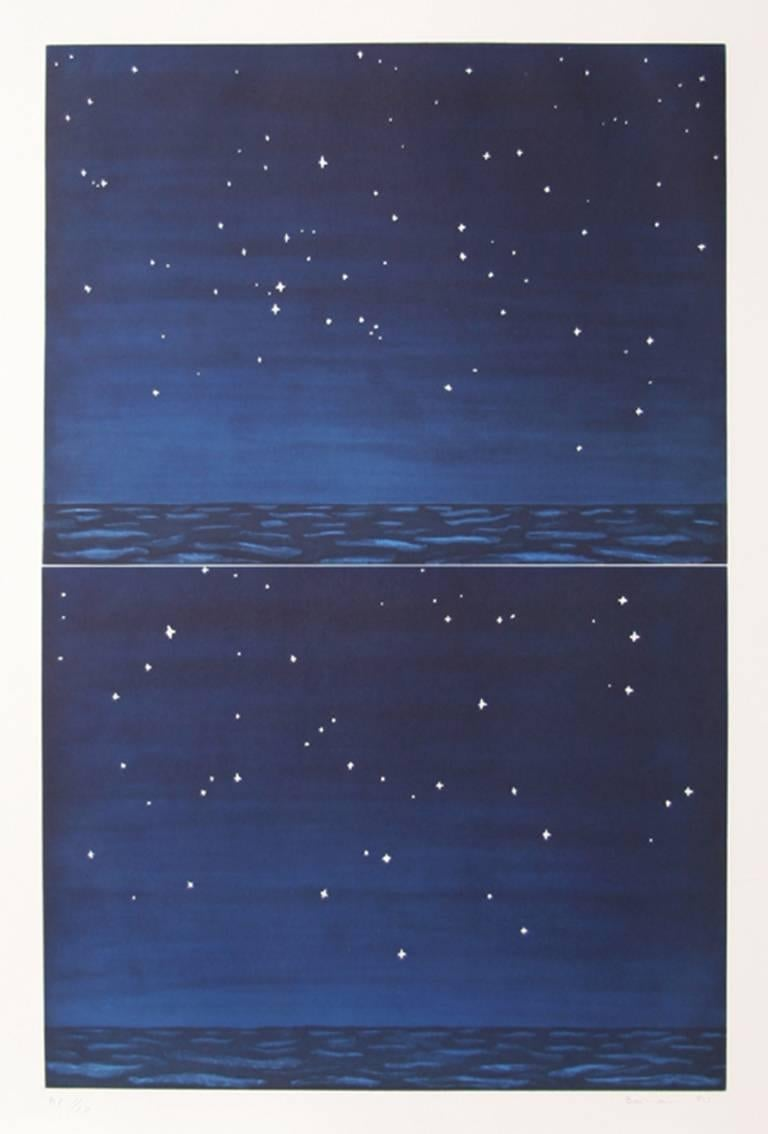 """Richard Bosman, """"Night Sky,"""" Aquatint Etching, 1990"""