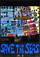 "Friedensreich Hundertwasser, ""Save the Seas,"" Foil Embossed Poster, 1982"