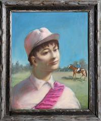 "Timothy Phillips, ""Racetrack Hopeful (Jockey Portrait),"" Oil on Board, 1975"