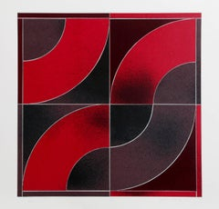 "Gordon House, ""Untitled - Red Arcs,"" Screenprint, 1969"