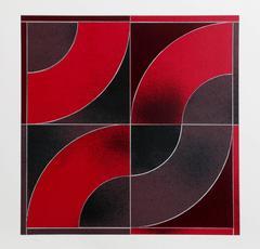 "Gordon House, ""Untitled - Red Arcs,"" Screenprint, 1969"