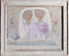 "Mario Toppi, ""Pelligrine Asseolate,"" Fresco on Board, 1959"