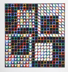 Our MC, OP Art Serigraph by Vasarely circa 1965