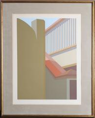 """Saul Chase, """"Ramp with a Red Roof,"""" Screenprint, 1981"""