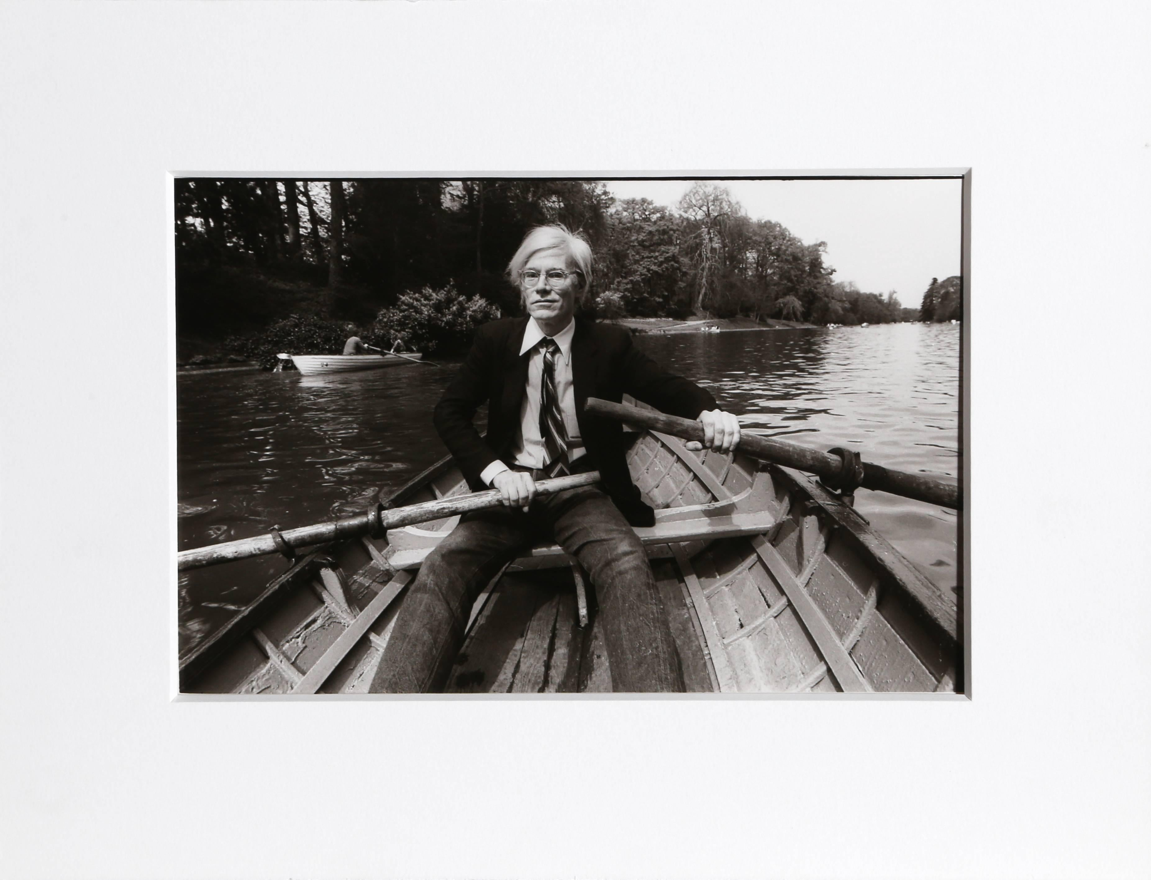 """Christopher Makos, """"Andy Warhol in Rowboat, France,"""" Silver Gelatin Print, 1981"""