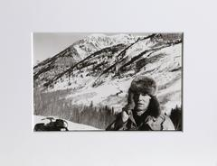 "Christopher Makos, ""Andy Warhol Snowmobiling,"" Gelatin Silver Print, 1983"