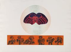 """Claudio Juarez, """"Totems,"""" Etching with Aquatint, circa 1970"""