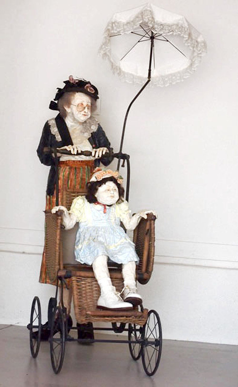 Kay Ritter Figurative Sculpture - Nanny with Stroller
