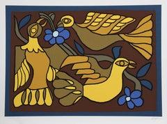 """Victor Delfin, """"Three Doves,"""" Serigraph, circa 1980"""
