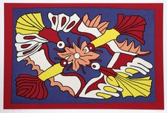 "Victor Delfin, ""Four Red Birds and a Flower,"" Serigraph, 1978"