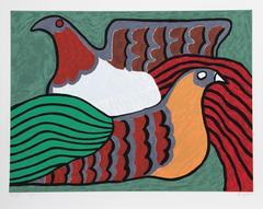 """Victor Delfin, """"Hens,"""" Serigraph, 1980"""