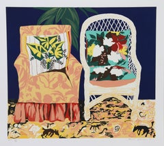 "Hunt Slonem, ""Chair Duet,"" Serigraph, 1981"