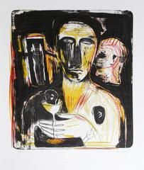 """Mimmo Paladino, """"Come in uno Specchio,"""" Lithograph on Rice Paper"""