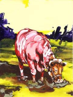 "Ge-Karel van der Sterren, ""Cow in Field,"" Acrylic Paint on Canvas, 2002"