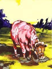 """Ge-Karel van der Sterren, """"Cow in Field,"""" Acrylic Paint on Canvas, 2002"""