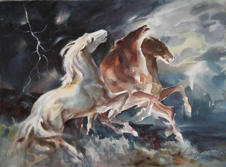"Lumen Martin Winter, ""Lightning,"" Watercolor on Paper, circa 1975 - Art by Lumen Martin Winter"