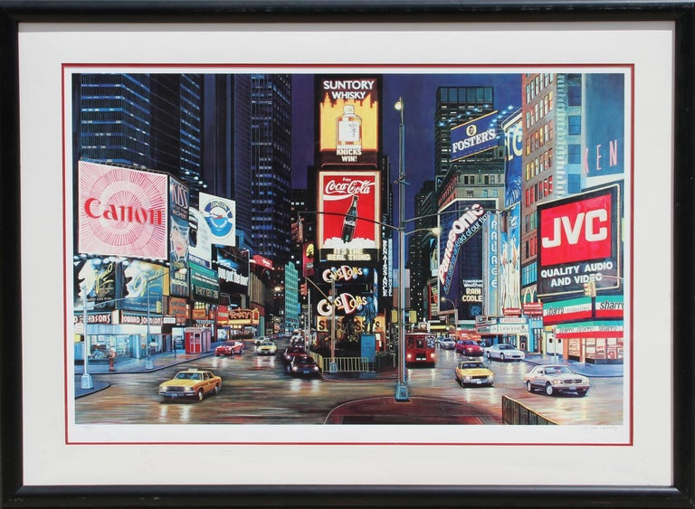 """Ken Keeley, """"Times Square Night (Guys and Dolls),"""" Serigraph, circa 1990"""
