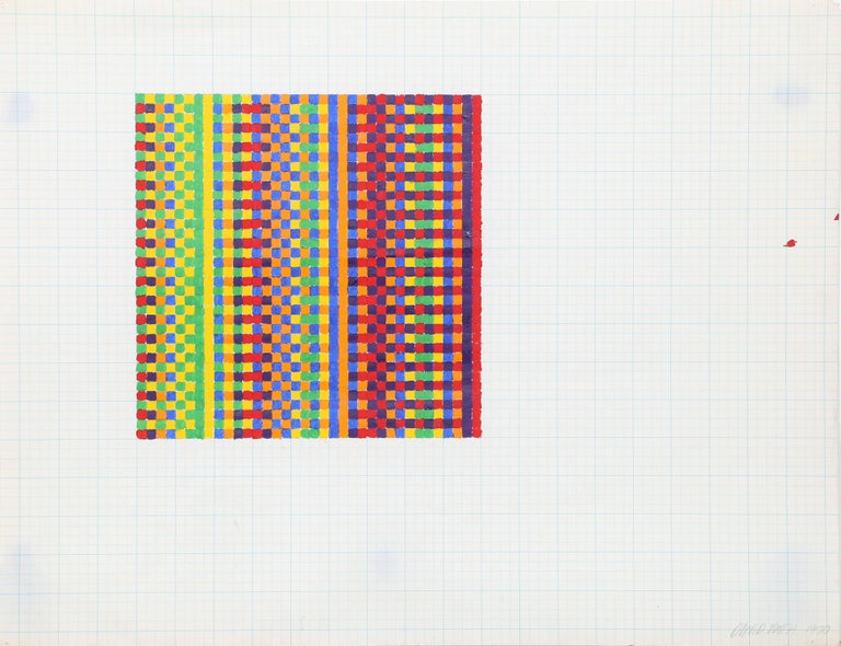 This painting was created by American artist David Roth. Roth's images are proportioned according to a strict mathematical formula - the pictures are composed according to horizontal and vertical divisions on the graph paper. The optical quality of