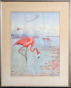 "Oscar Hess, ""Pink Flamingoes,"" Watercolor Painting, circa 1980"